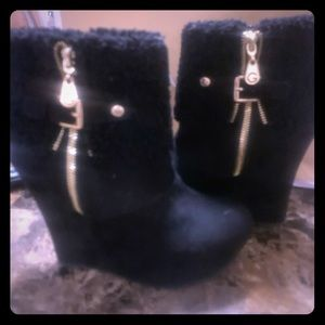 G by Guess Black Faux Suede High Wedge Boots